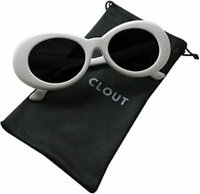 Clout Goggles and Clout Case HypeBeast Oval Sunglasses Mod Style Kurt Cobain Wh