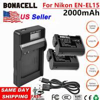 US EN-EL15 Battery+LCD charger for Nikon 1 V1 D850 D7100 D750 D800 D7200 D610 WM