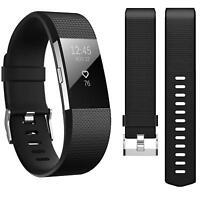 Fitbit Charge 2 Armband Ersatz Silikon Band Uhrenarmband Fitness Tracker SCHWARZ
