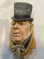 VINTAGE BOSSONS MR. MICAWBER CHALKWARE DICKENS CHARACTER HEAD MADE IN UK 1964