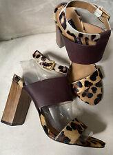 New Steven Steve Madden Leopard Calf Hair Sandals 8