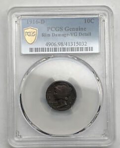 1916-D Mercury Dime PCGS Genuine Damage VG Details