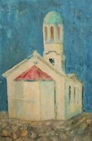 Expressionism landscape church vintage oil painting