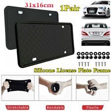 2x Black Silicone Rubber Car Front+Rear License Plate Frame Protector Holder USA