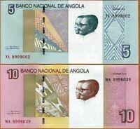 ANGOLA SET 2 PCS  5 Y 10 KWANZAS 2012 Pick NEW UNC