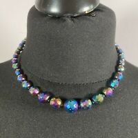 VINTAGE 50s Petrol Glass Necklace Collar Lngth Graduated Faceted Aurora Borealis
