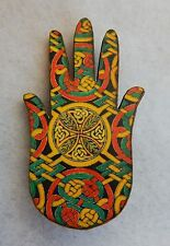 Celtic Knot Hand Brooch or Scarf Pin new fashion Wooden Multi-Color Accessories