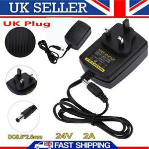 DC24V 2A UK Plug Adapter AC Power Supply Charger 100V-240V to DC 24V Converter