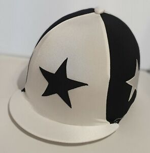 RIDING HAT COVER - WHITE QUARTERS WITH LARGE SEWN BLACK STARS & BUTTON