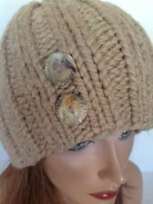 Beanie Slouch Hat Cap Hand  Knit Beige Khaki Designer Fashion Hip Winter  Ski