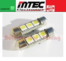 MTEC COPPIA LAMPADE CANBUS SILURO TARGA 42MM 3 LED 5050 SMD 6000K LUCE BIANCA