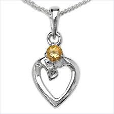Collier mit Diamant/Citrin/Herz-Anhänger Rhodiniert