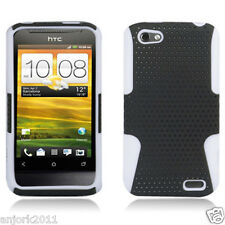 HTC ONE V MESH HYBRID HARD CASE SKIN COVER ACCESSORY BLACK WHITE