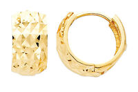 14K Yellow Gold 7mm Thick Multifaceted Polished Rounded Hoop Huggies Earrings
