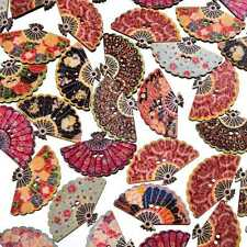 29*18mm Mixed Color Fan Wood Button 2 Holes Sewing DIY Craft Scrapbooking 50Pcs