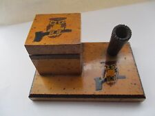 VINTAGE OWL POKER WORK INKWELL / PEN HOLDER - BRODO , BRITISH MADE