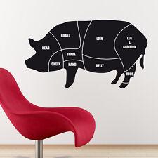 Cuts of meat diagram wall sticker pork pig butchers decal cm1