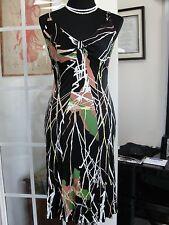 M MISSONI BLACK MULTI COLORED BEADED CROSS BACK DRESS ABSTRACT PRINT SZ 8 ITALY
