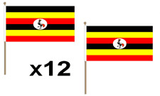 Uganda Waving Hand Flag 12 Pack Decoration East Africa Ugandan National African