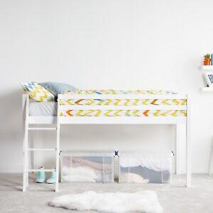 VonHaus Mid Sleeper Bed Frame | White Wooden Pine Bunk Bed | Cabin Bed w/ Ladder
