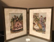 Antique Lot Of 2 Godey's Ladies Fashions Framed Needlework incl. young Girl