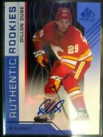 2018-19 Upper Deck Dillon Dube SP Game Used Blue Autograph #107 Rookies Flames