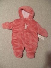 NWT Girls Carter's Pink Infant Velboa Pram Bunting Snowsuit 3-6 months Bunny