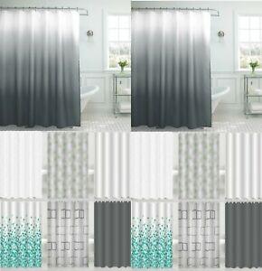 Premium Shower Curtains Modern Designs Printed & Plain 12 Hook Set 180x180cm