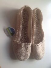 Lovely Ladies/girls Cream Summer Flat Canvas Size 3 New Shop Clearance