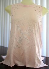 GUESS Pale Pink with Silver Graphics and Rhinestone Bodice Tank Shirt  Size XS