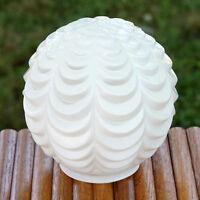 Vintage Art Deco Ruffled White Glass Lamp Light Fixture Shade Globe Ball Round