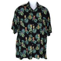 Campia Men's Hawaiian Shirt Black And Green Size XL Short Sleeves