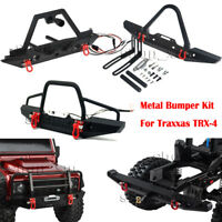 Metal Front & Rear Bumper W/ LEDS & Shackles For Traxxas TRX-4 1/10 RC Crawler