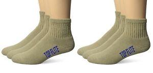 Top Flite Mens Sport Cushion Quarter Athletic Cotton Socks 6 Pair Pack
