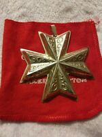 1977 Reed and Barton Christmas Cross Ornament Sterling Silver 2.5""