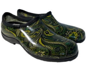 SLOGGERS Green Paisley Clogs Rain Garden Shoes Waterproof Size 11