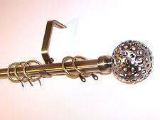 16/19mm Antique Brass Extendable Curtain Pole System Circle Ball Finials 1.5m 3m