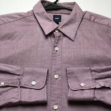 Gap Men's Button Up Long Sleeves Shirt Large L Purple White Polka Dots Going Out