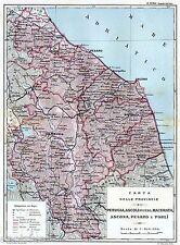 Province Umbria, Marche, Forlì-Cesena, Rimini. San Marino. Carta Geografica.1898