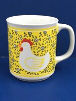 """Chicken And Daisy Yellow Coffee Cup Mug Vintage Made In Thailand 3-1/2"""" B21"""