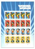 USA 2016 Marvel Wonder Woman Sheetlet of 20 Self-adhesive Mint Unhinged Stamps