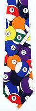 Cue Stick Mens Necktie Billiards Pool Table Game Snooker Chalk Neck Tie New