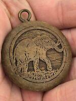 Vintage Carved Wood Circular Elephant African Pendant