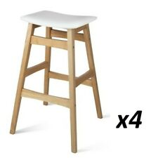 4x Rubber Wood Bar Stool Wooden Barstool Dining Chair Kitchen Padded White 6028