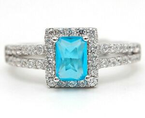 2CT Aquamarine & Topaz 925 Solid Sterling Silver Ring Jewelry Sz 6