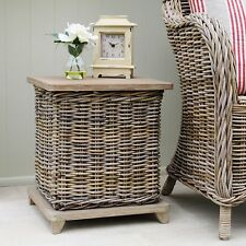 Wicker Storage Side Table Wicker Bin Wooden Lid TBS22508