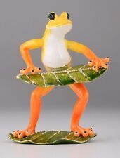 Frog play Piano trinket box by Keren Kopal Austrian Crystal  Faberge