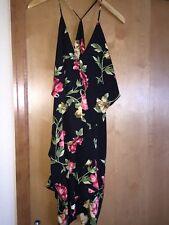 NEW Interi  Entrancing SUMMER Black Dress Floral Pattern Size M