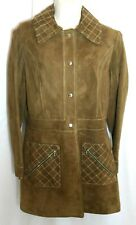 Vtg Suede Leather Brown Womens Coat Jacket Size 12 S/M World Knits Fully Lined
