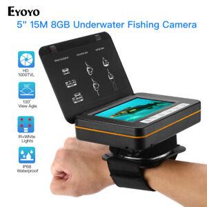 """Eyoyo 5"""" 15M Fish Finder Underwater Fishing Video Camera 1000TVL 8GB Recorder"""